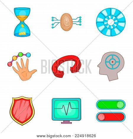 Loading icons set. Cartoon set of 9 loading vector icons for web isolated on white background