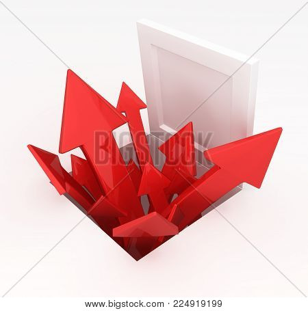 Red symbolic arrows emerging from open hatch, 3d illustration, horizontal, over white