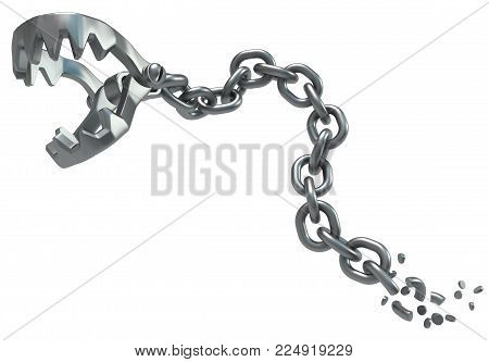 Metal chain jaws clamp detached, dark metal 3d illustration, isolated, horizontal, over white