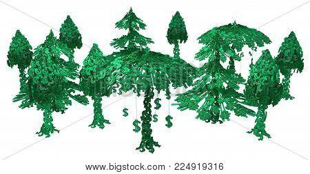 Dollar money symbol trees group cartoon, 3d illustration, horizontal, isolated, over white