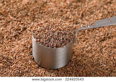 saucepan of caraway seeds