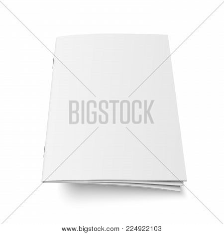 Vector mock up of book or magazine white blank cover isolated. Flying closed vertical magazine, brochure, booklet, copybook or notebook template on white background. 3d illustration.