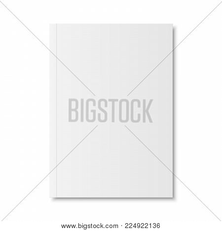 Vector mock up of book or magazine white blank cover isolated. Closed vertical magazine, brochure, booklet, copybook or notebook template on white background. 3d illustration.