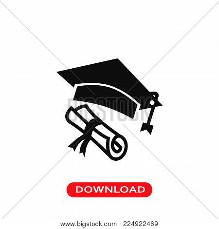 Diploma and graduate cap icon vector in modern flat style for web, graphic and mobile design. Diploma and graduate cap icon vector isolated on white background. Diploma and graduate cap icon vector illustration, editable stroke and EPS10. Diploma and grad