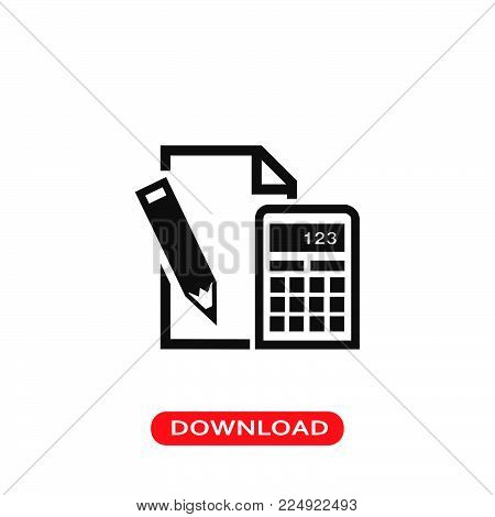 Paper pencil and calculator icon vector in modern flat style for web, graphic and mobile design. Paper pencil and calculator icon vector isolated on white background. Paper pencil and calculator icon vector illustration, editable stroke and EPS10. Paper p