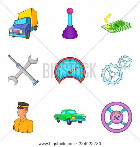 Hauler icons set. Cartoon set of 9 hauler vector icons for web isolated on white background