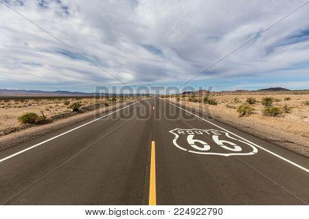 Route 66 crossing the vast Mojave desert near Amboy California.