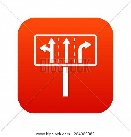Traffic lanes at crossroads junction icon digital red for any design isolated on white vector illustration