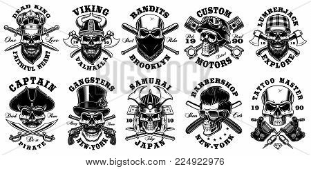 Set of vintage different skulls on white background. Shirt designs with king, viking, samurai, lumberjack, pirate and many others. Text is on the separate layer.