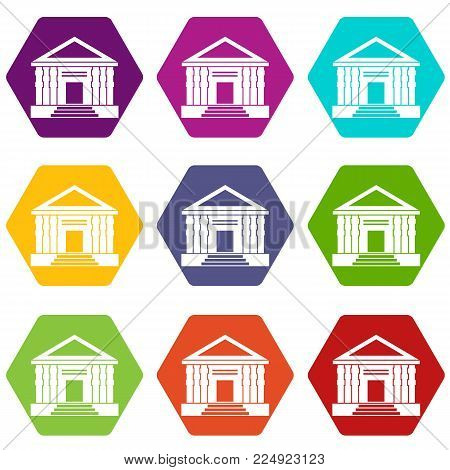 Colonnade icon set many color hexahedron isolated on white vector illustration