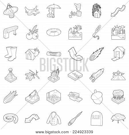 Air environment icons set. Outline set of 36 air environment vector icons for web isolated on white background