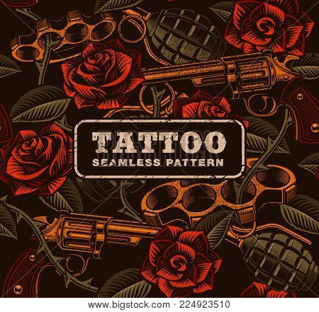 Weapon with roses, tattoo seamless pattern. Design of textile texture.