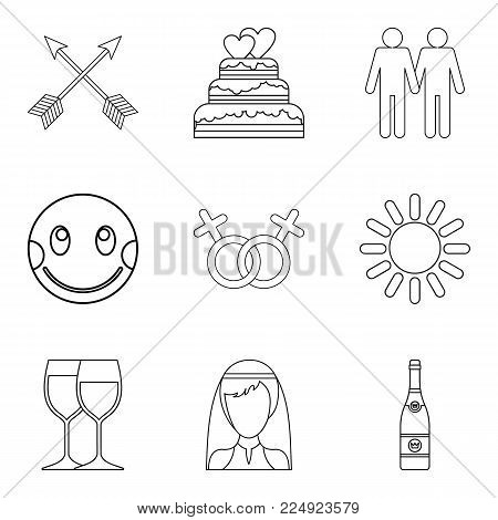 Tenderness icons set. Outline set of 9 tenderness vector icons for web isolated on white background