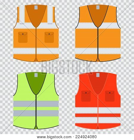 Vest safety vector flat set. Construction jacket of orange, red and light green with reflective stripes. Uniforms isolated on a transparent background.