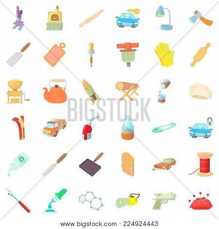 Craft production icons set. Cartoon set of 36 craft production vector icons for web isolated on white background