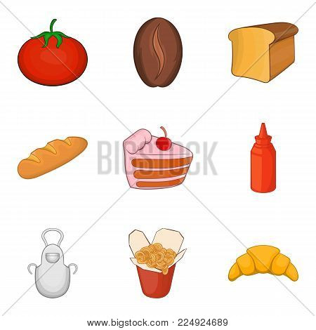 Supper icons set. Cartoon set of 9 supper vector icons for web isolated on white background