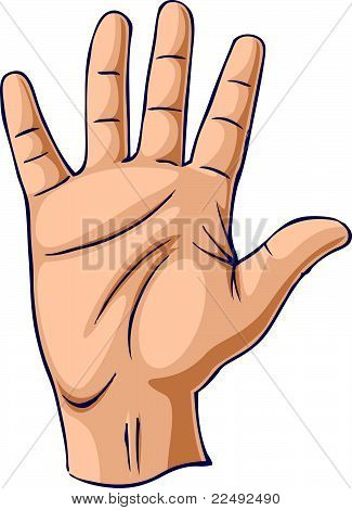 Hand raised in an open hand gesture