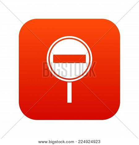No entry sign icon digital red for any design isolated on white vector illustration
