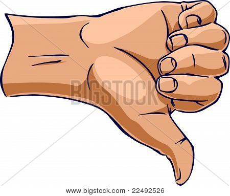 Hands showing thumb down from side