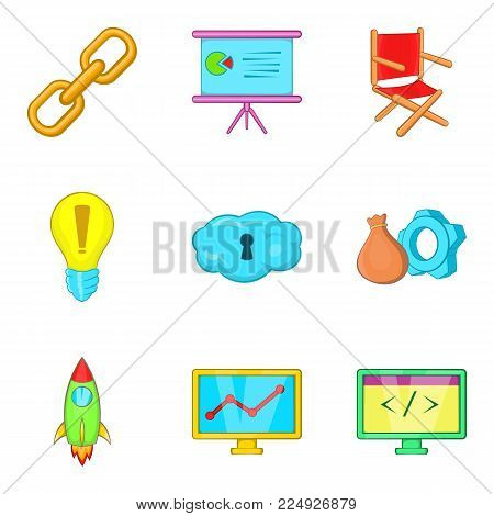 Administration icons set. Cartoon set of 9 administration vector icons for web isolated on white background