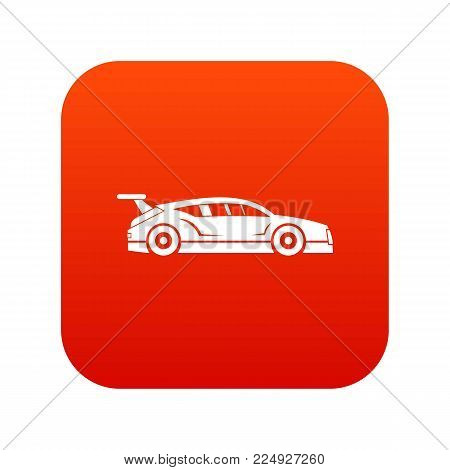 Rally racing car icon digital red for any design isolated on white vector illustration