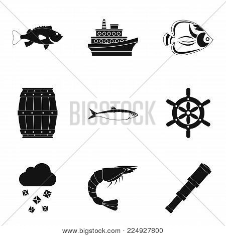 Marine environment icons set. Simple set of 9 marine environment vector icons for web isolated on white background