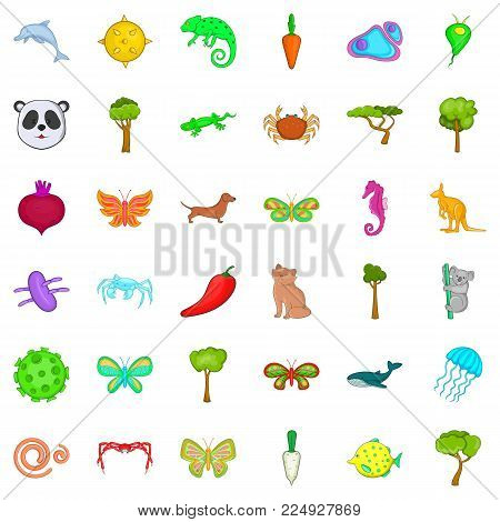 Biologically icons set. Cartoon set of 36 biologically vector icons for web isolated on white background