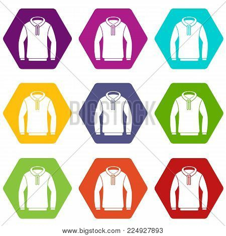 Hoody icon set many color hexahedron isolated on white vector illustration
