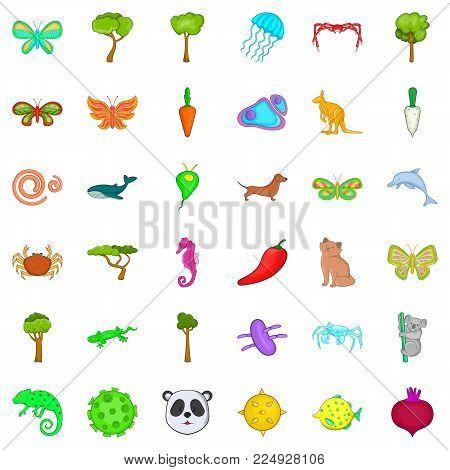 Bio world icons set. Cartoon set of 36 bio world vector icons for web isolated on white background