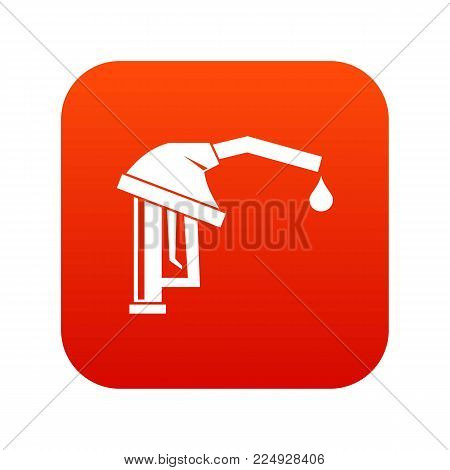 Gasoline pump nozzle icon digital red for any design isolated on white vector illustration