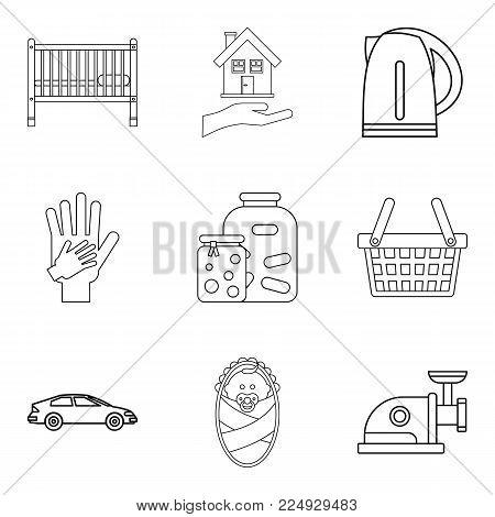 Matrimony icons set. Outline set of 9 matrimony vector icons for web isolated on white background
