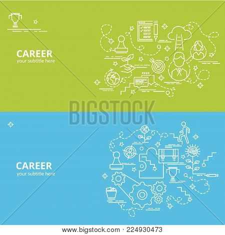 Flat colorful design concept for Career. Infographic idea of making creative products. Template for website banner, flyer and poster.
