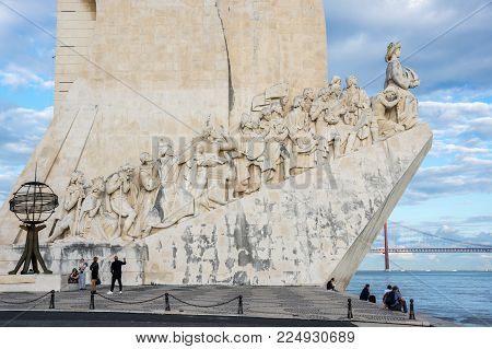 LISBON, PORTUGAL - OCTOBER 13, 2015: Monument to the Discoveries is a monument on the northern bank of the Tagus River estuary, in Lisbon, Portugal. The monument celebrates the Portuguese Age of Discovery (or Age of Exploration) during the 15th and 16th c