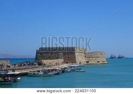 Summer day and fortress in Heraklion on the island of Crete