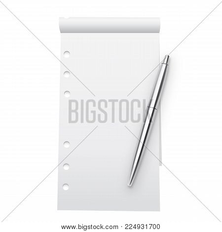 Notebook Mock Up And Silver Metallic Pen Isolated On White Background. Blank Pages Copybook Template