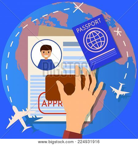 Passport or visa application. Travel immigration stamp. work permit. business and lifestyle Flat design,  illustration,