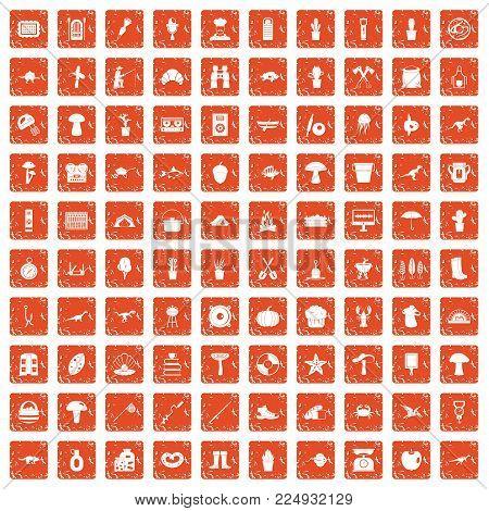 100 hobby icons set in grunge style orange color isolated on white background vector illustration