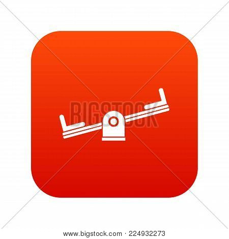 Seesaw icon digital red for any design isolated on white vector illustration
