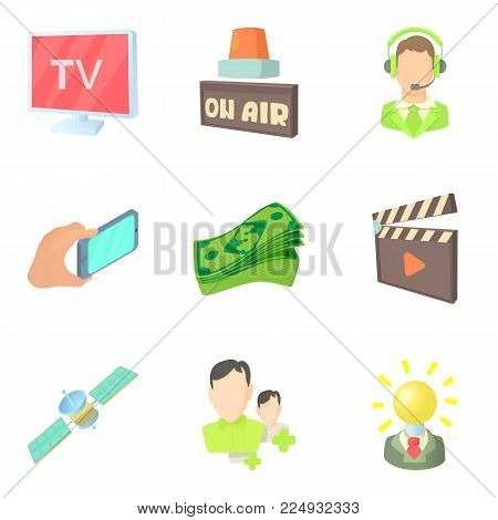 Media representatives icons set. Cartoon set of 9 media representatives vector icons for web isolated on white background