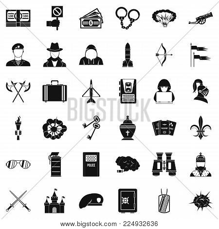 War army icons set. Simple set of 36 war army vector icons for web isolated on white background