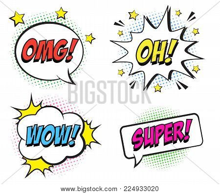 Retro Comic Speech Bubbles Set With Colorful Halftone Shadows On White Background. Expression Text O