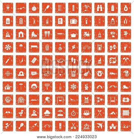 100 holidays family icons set in grunge style orange color isolated on white background vector illustration