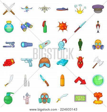 Defense capability icons set. Cartoon set of 36 defense capability vector icons for web isolated on white background