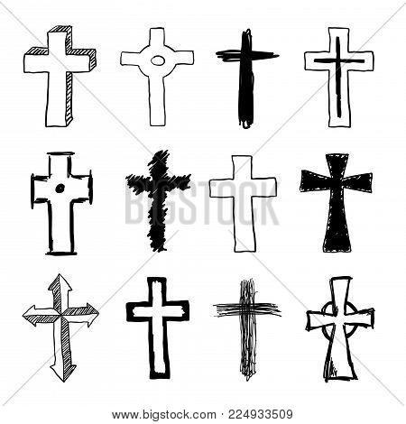 Vector doodle various christian cross set collection