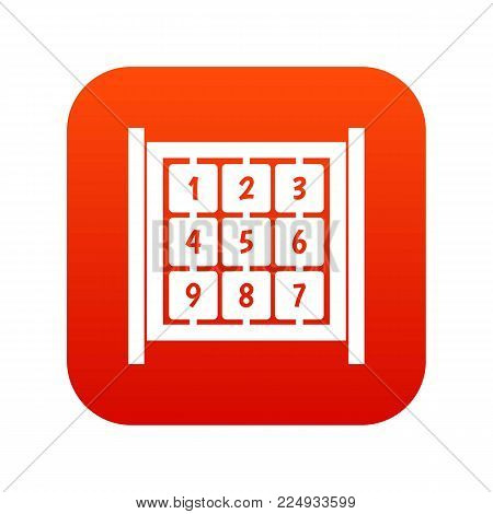 Cubes with numbers on playground icon digital red for any design isolated on white vector illustration