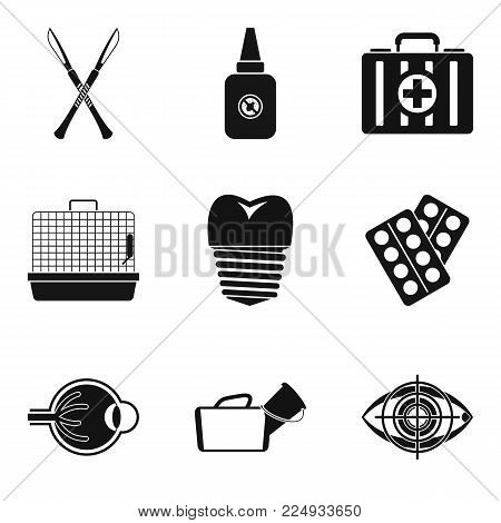 Medical accessories icons set. Simple set of 9 medical accessories vector icons for web isolated on white background