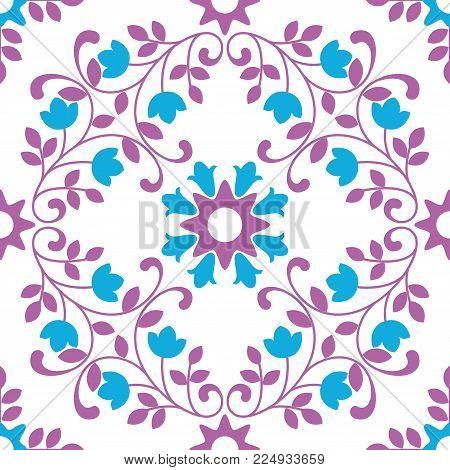 Ornamental pattern vector seamless violet and blue color. Tile pattern - azulejo, portuguese tiles, celtic, spanish, moroccan, talavera, turkish or delft dutch tiles design with flowers motifs