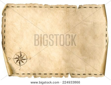 treasure blank map isolated background 3d illustration