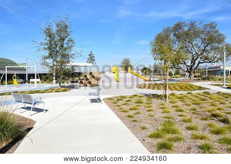 IRVINE, CALIFORNIA - FEBRUARY 2, 2018: Playground area at the Great Park. The area is adjacent to the Tennis Complex.