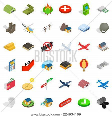 Military sphere icons set. Isometric set of 36 military sphere vector icons for web isolated on white background
